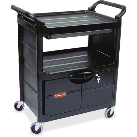 Rubbermaid Commercial, RCPFG345700BLA, Lockable Storage Utility Cart, 1 Each, Black