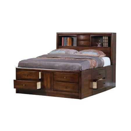 coaster walnut storage bookcase bed in warm brown finish california king - California King Bed Frame With Storage