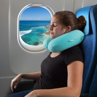 Memory Foam Travel Pillow- With Gel That Cools for Head/Neck Support with Pillowcase for Sleeping/Traveling/Airplanes/Trains by (Sky Blue)