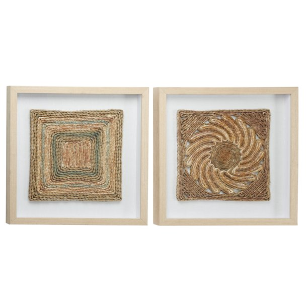 "Decmode Square Shadow Boxes w/ Earth Tone Rope Abstract Art, Set of 2, 18"" x 18"" Each"