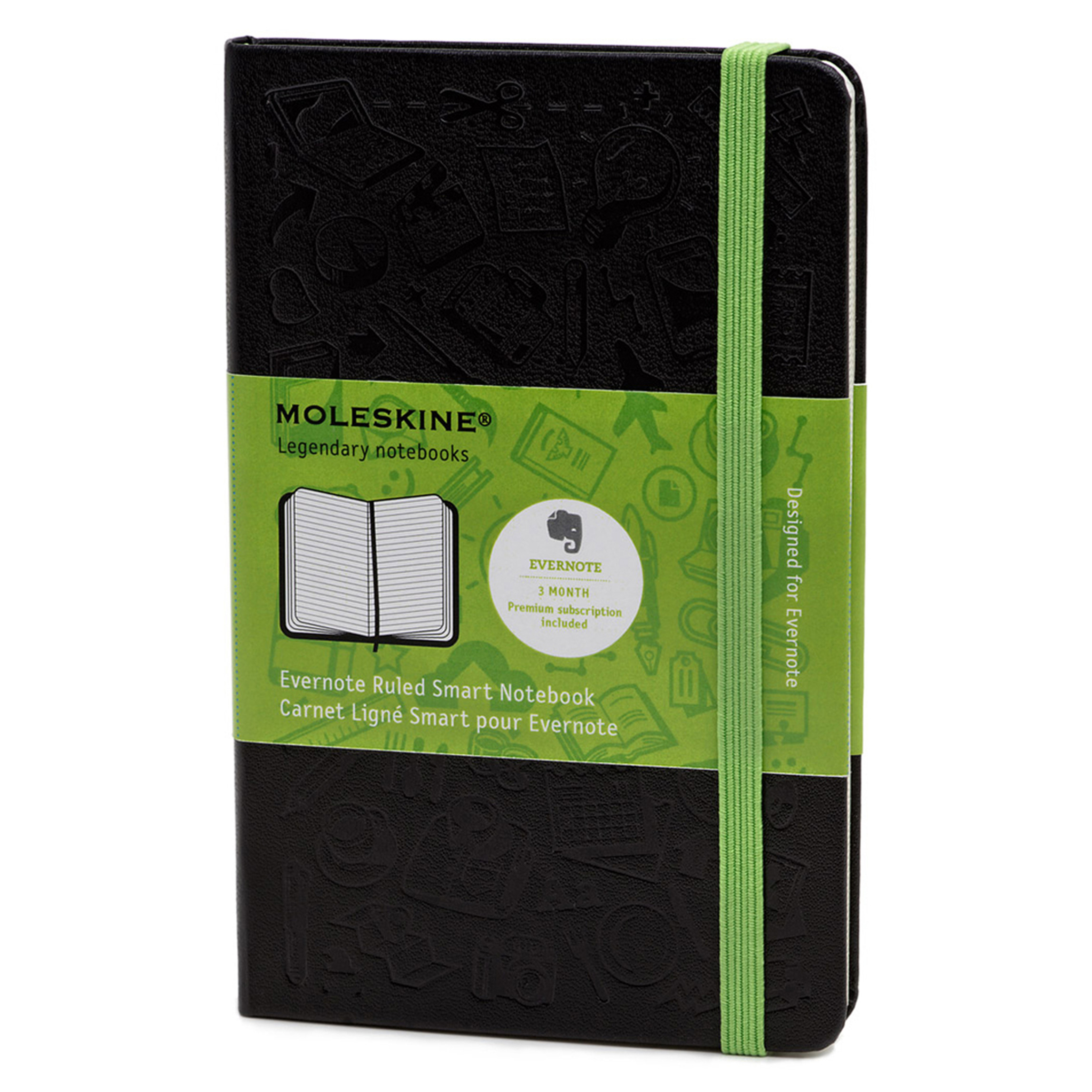 Moleskine Ruled Evernote Smart Notebook, 5 1/2 x 3 1/2, Black Cover, 192 Sheets