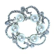 Circle Shaped Silver-Tone Brooch Pin With White Bead And Rhinestone Accents TMP206