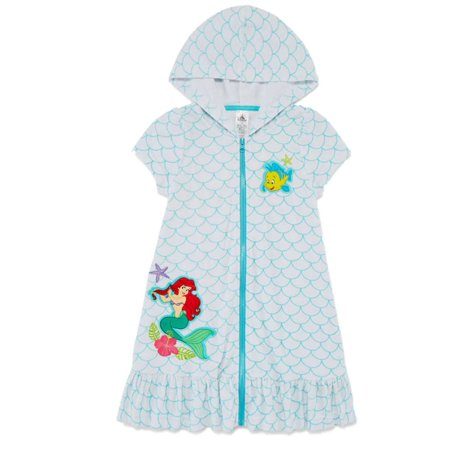 ca495936bb Disney - Disney Little Mermaid Toddler Girls Hooded White Ariel Swim Suit Cover  Up 3 - Walmart.com