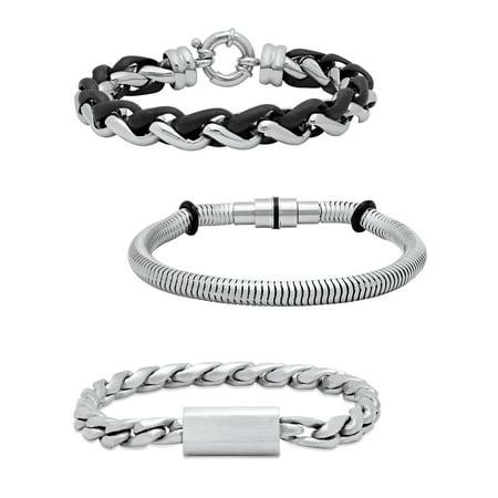 Mens Stainless Steel 3pc. Bracelet Gift Set