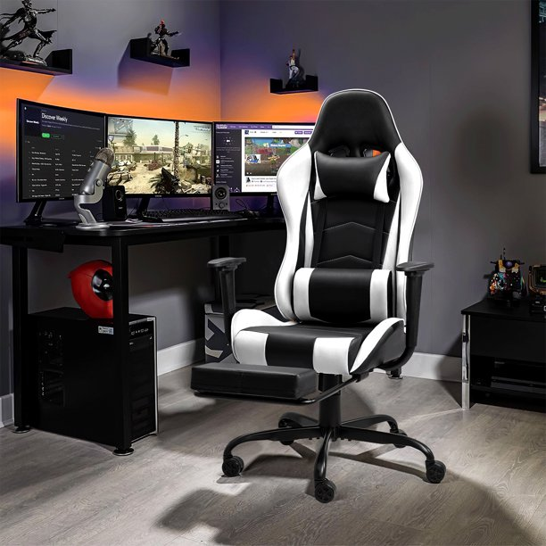 Walnew High-back Recliner Gaming Chair Swivel Office Chair PU Leather Adjustable Height Racing Style Computer Chair with Lumber Support Ergonomic Gaming Chair with Headrest and Footrest, White