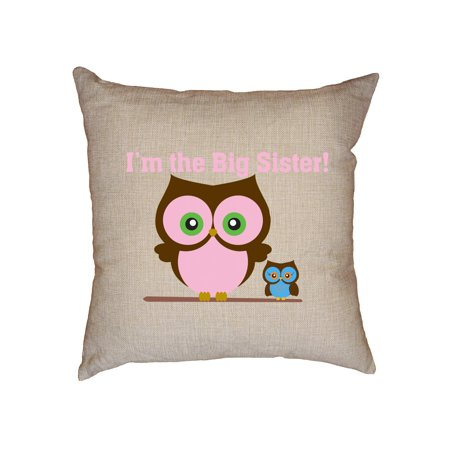 (I'm The Big Sister - Cute Pink Owls Decorative Linen Throw Cushion Pillow Case with Insert)