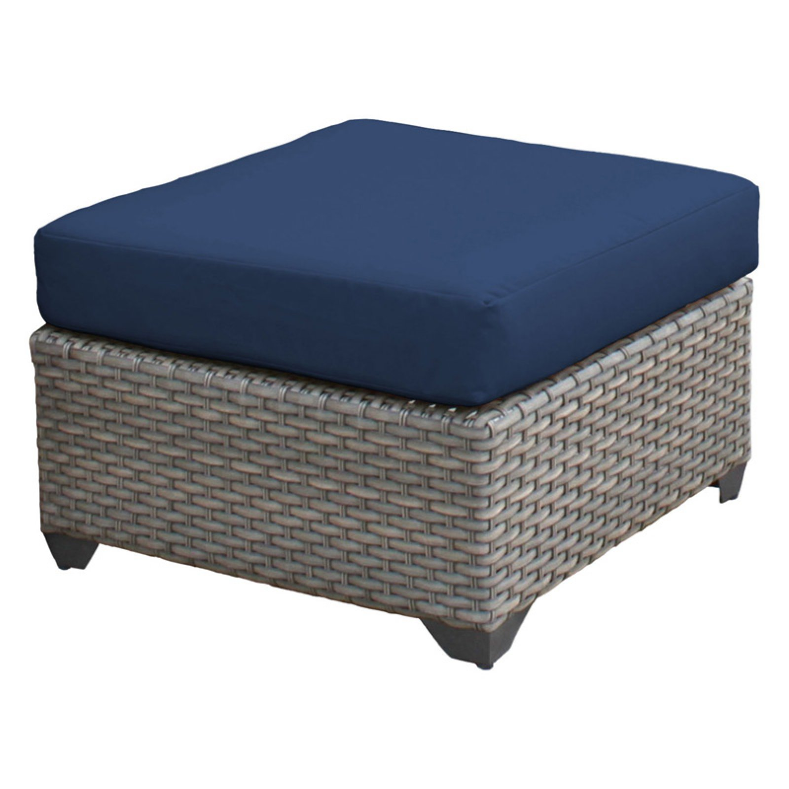 TK Classics Florence Wicker Outdoor Ottoman - Set of 2 Cushion Covers