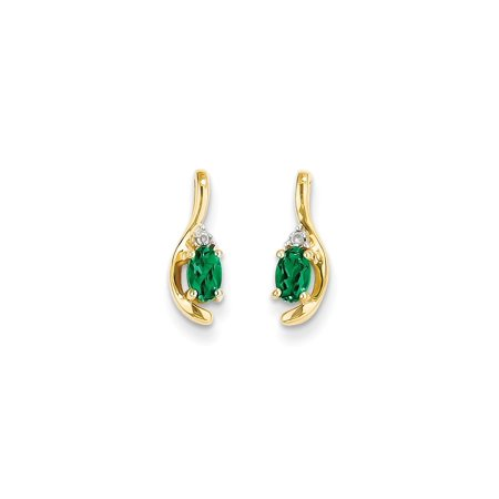 14k Yellow Gold Diamond Green Emerald Post Stud Earrings Drop Dangle Birthstone May Set Style Fine Jewelry For Women Gift (Gold Emerald Stone Set)