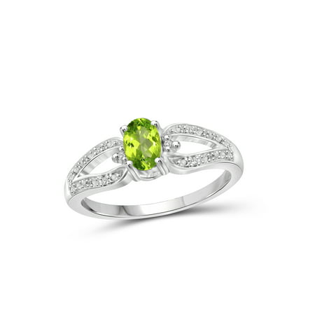 (JewelersClub 0.48 Carat T.G.W. Peridot Gemstone and White Diamond Accent Ring)