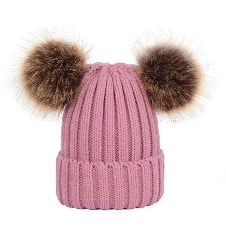 4ed7e6f99 Winter Knit Beanie Bobble Hat Cap with Double Pom Pom Ears for Women Girls  (Pink)