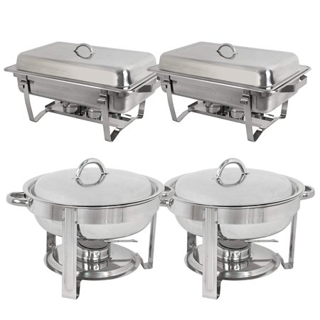 Zeny Stainless Steel Combo - 2 Round Chafing Dish + 2 Rectangular Chafers
