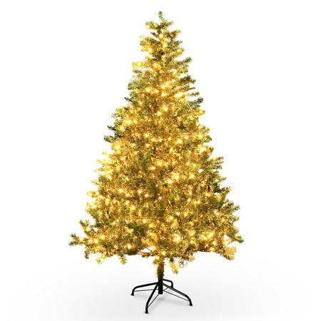 Belleze 6 Feet Artficial Christmas Tree Premium Hinged Unlit W Metal Stand 800 Tips 250 Lights