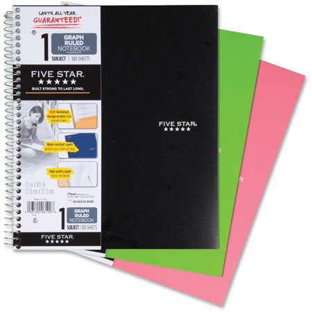 Five Star Wirebound Notebook  1 Subject  Quad Ruled  11   X 8 1 2    Assorted Colors  06190