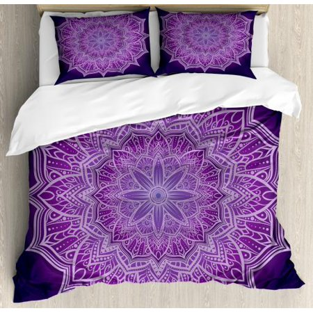 Doodle Duvet Cover (Purple Mandala Queen Size Duvet Cover Set, Hand-Drawn Doodle Lace Mandala with Floral Motifs, Decorative 3 Piece Bedding Set with 2 Pillow Shams, Pale Mauve Dark Purple and Purple, by)