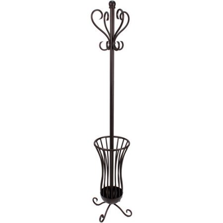Traditional Metal Coat Rack With Umbrella Stand Bronze Finish