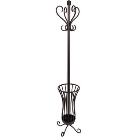 Generic Traditional Metal Coat Rack With Umbrella Stand, Bronze