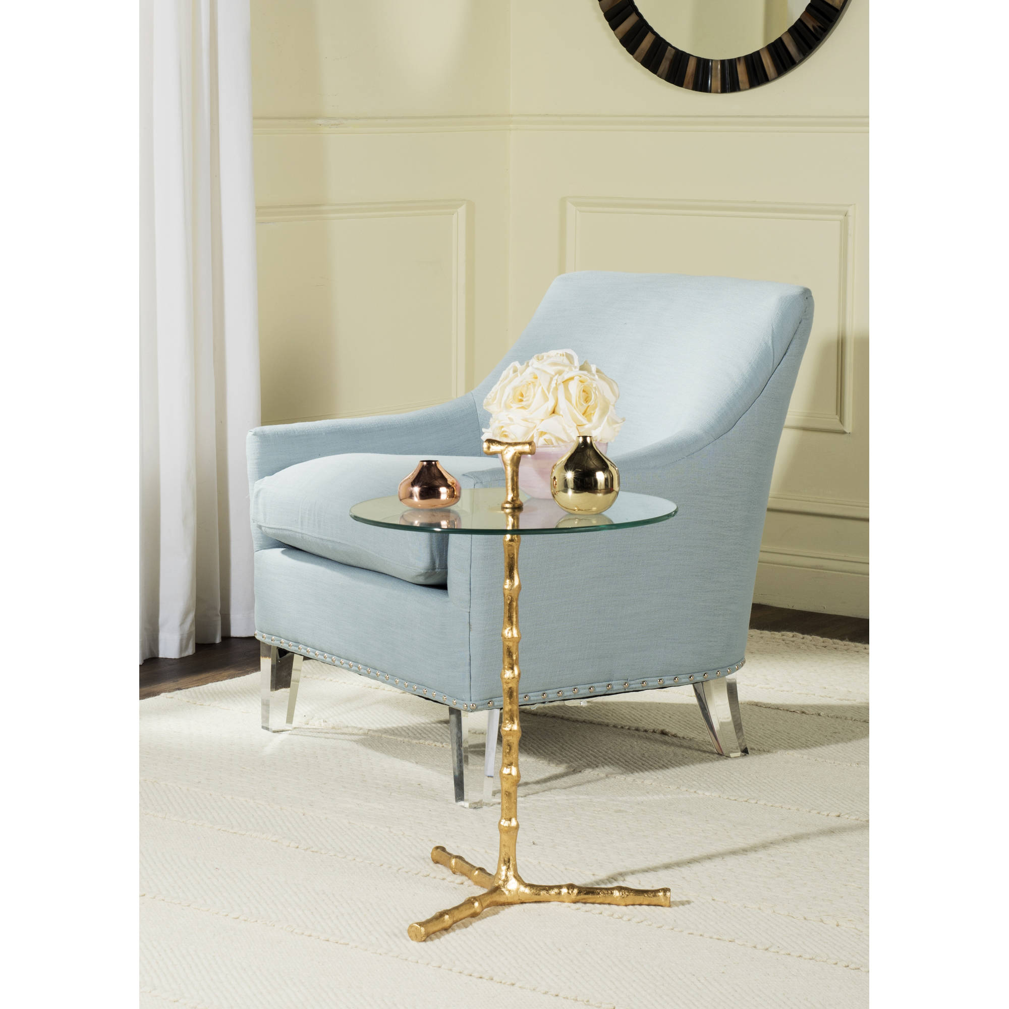 Safavieh Cardin Round Accent Table, Gold Leaf