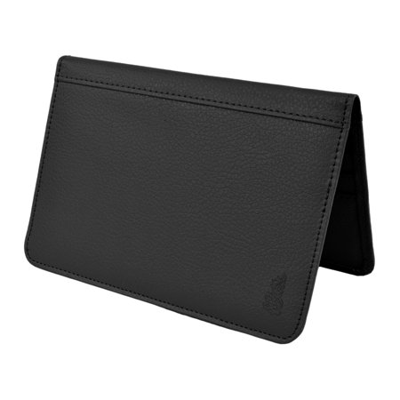 Pink Leather Checkbook Wallet - Moda Di Raza Belle Donne - RFID Blocking Passport Holder Leather Travel Wallet - Black