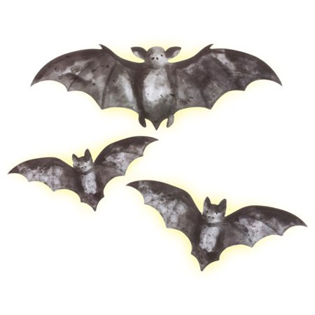 Darice Wall Decor Martha Stewart Crafts Illuminated LED Bat Decorations Assorted Sizes - Martha Stewart Halloween Hanging Bats