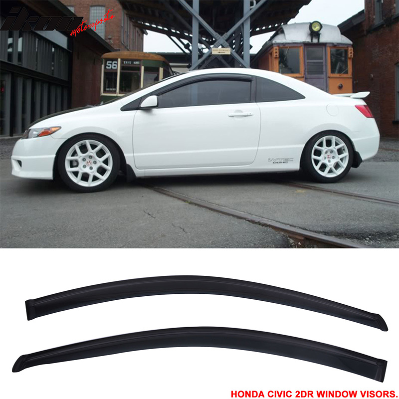 Fit For 06-11 Honda Civic 2Dr Window Visors Vent Guard Wi...