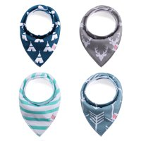 Baby Bandana Drool Bibs for Drooling and Teething, Baby Bibs Drooling Bibs for Boys and Girls, 100% Organic Cotton, Soft & Absorbent, 4-Pack Gift Set