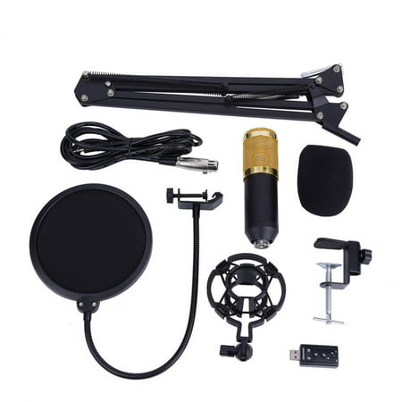 Walfront Portable Karaoke Microphone Set, Microphone + Tripod Stand with Extending Boom + Mic Cord for Singing Radio Broadcasting Studio