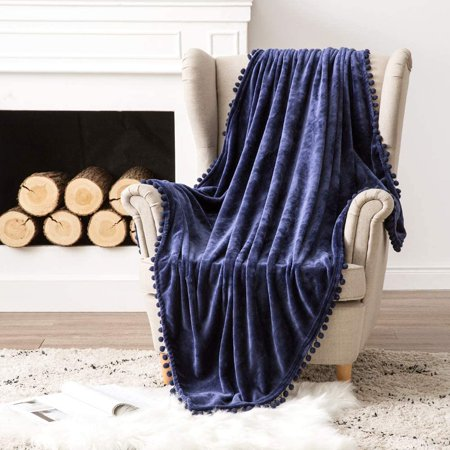 DecorX Ultra Soft Fleece Blanket Luxurious Fuzzy for Couch or Sofa Lightweight Fluffy Warm Bed Blanket with Cute Pompom Tassels - Super Cozy for Napping Sleeping (Navy Blue, Twin)