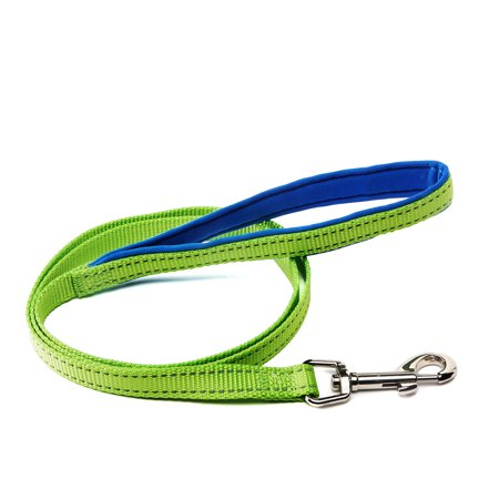Vibrant Life Reflective Neon Green Comfort Dog Leash, Medium, 4 ft, 5/8 in
