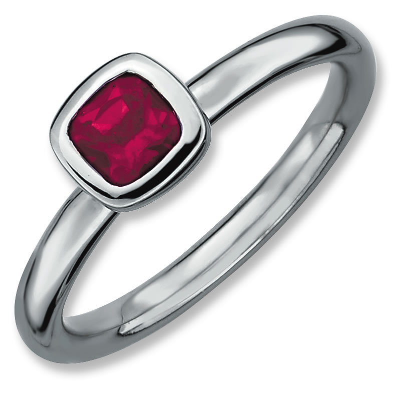 Sterling Silver Stackable Expressions Cushion Cut Created Ruby Ring