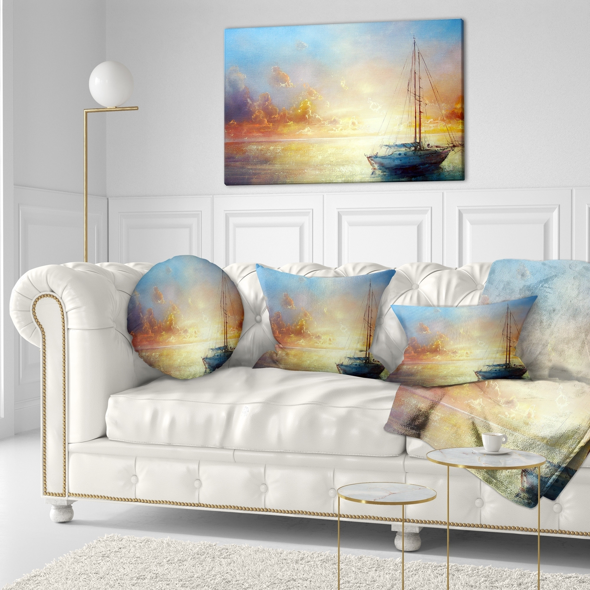 Designart CU7828-20-20-C Seascape Pier Throw Pillow 20