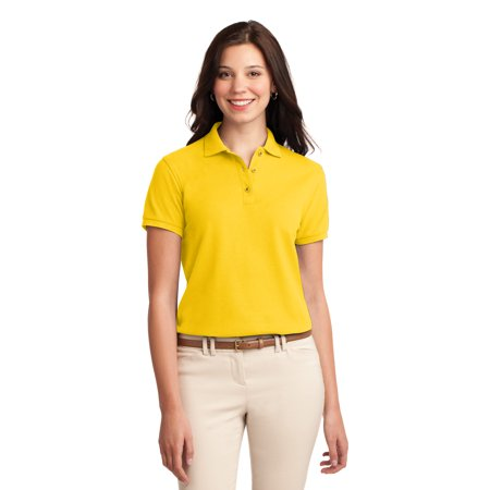 Port Authority Ladies Silk Touch Polo Shirt Style  L500   L500   Sunflower Yellow   Medium