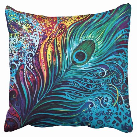 ECCOT Colorful Crystal Cobalt Blue Peacock Feathers Pillow Case Pillow Cover 16x16 inch - Peacock Blue Crystal