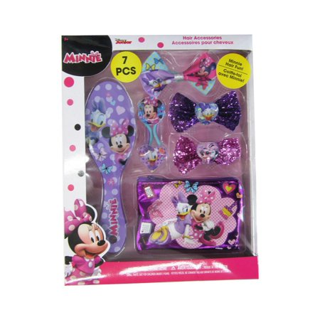 Minnie Mouse Hair Bow (Disney Girls Multi Color Minnie Mouse Inspired Hair Accessory 7 Pc)