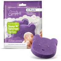 Spongefuls Gentle Soap-Filled Baby Bath Soap n' Sponge to Go, 2 pk Lavender