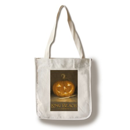 Long Beach, California - Jack-O-Lantern - Halloween - Oil Painting - Lantern Press Artwork (100% Cotton Tote Bag - Reusable) - Nature Center Long Beach Halloween