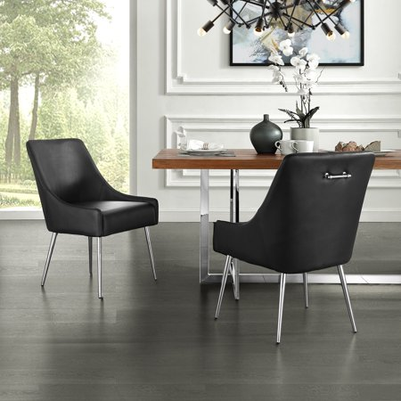 Leather Armless Set (Donati Black Leather PU Dining Chair – Set of 2 | Armless | Knob Handle | Stainless Steel Legs )
