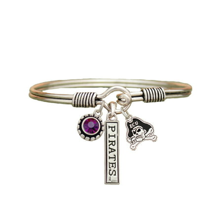 ECU East Carolina Pirates 3 Charm Silver Bangle Purple Charm Bracelet Jewelry ECU. (Carolina Panthers Jewelry)