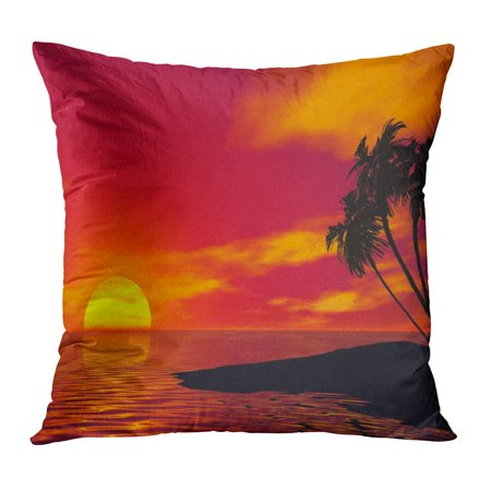 ECCOT Orange Sunset Palm Tree and Ocean 3D Rendered Scene Red Beaches Caribbean Coastal Color Evening Pillowcase Pillow Cover Cushion Case 16x16 inch - Palm Trees And Beach Scenes