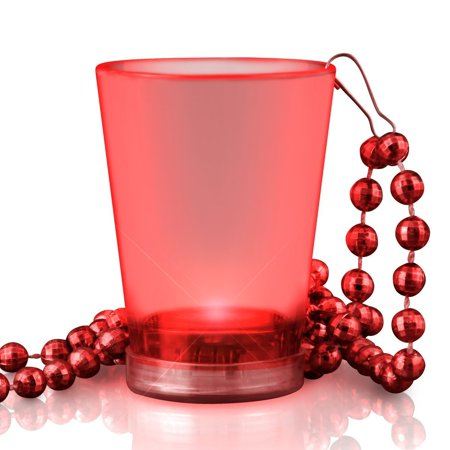 Light Up Red Shot Glass On Red Beaded Necklaces](Shot Glass Necklaces)