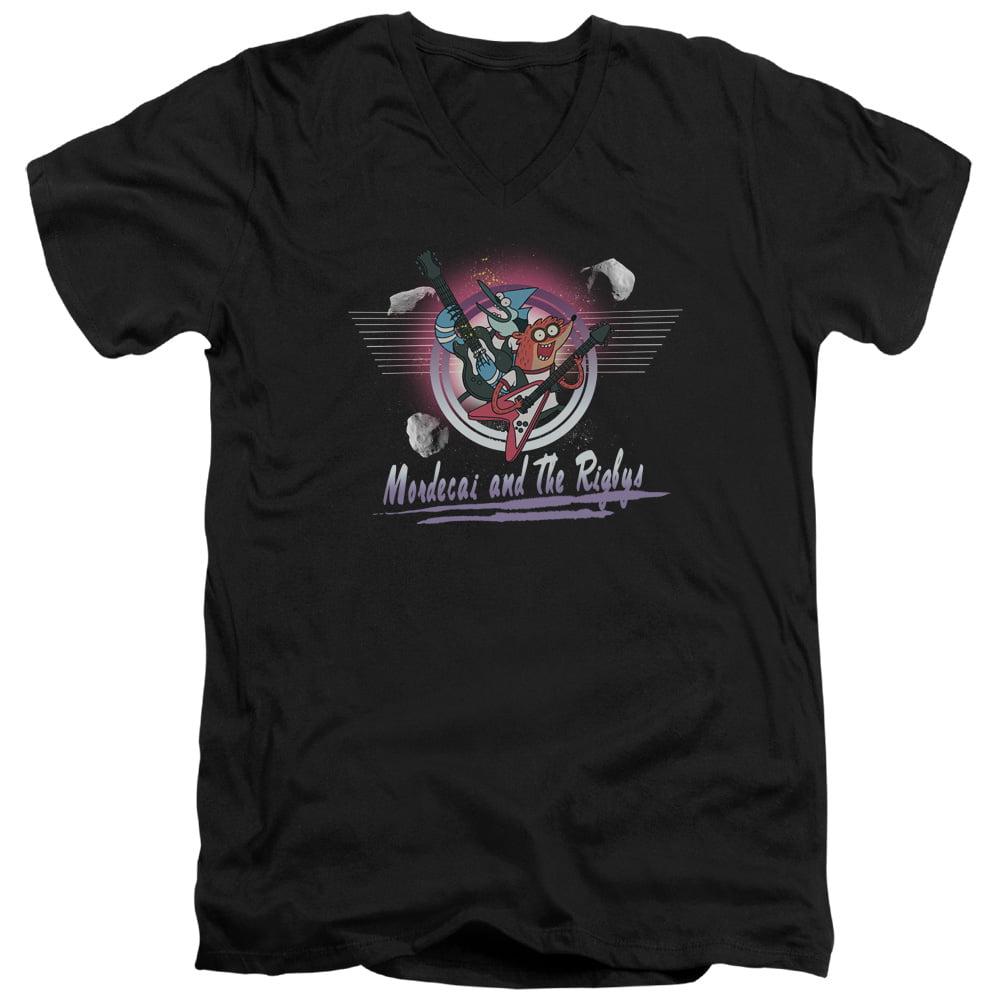Trevco THE REGULAR SHOW MORDECAI & THE RIGBYS Black Adult Unisex V-Neck T-Shirt