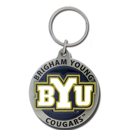 BYU Cougars Carved Metal Key Chain (F)