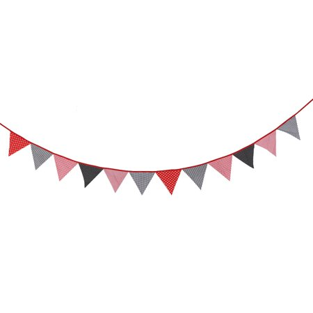 Holiday Birthday Cotton Blends DIY Wall Hanging Photo Prop Banner Red Black](Black And Red Happy Birthday Banner)