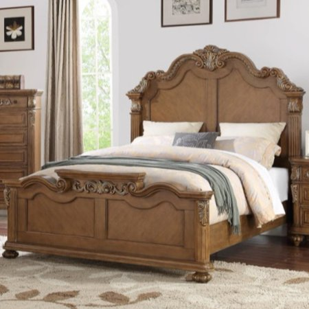 Splendidly Carved Queen Wooden Bed, Light Brown And Veneer Finish ()