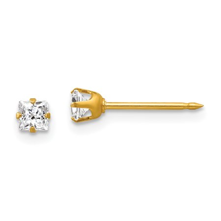 14kt Yellow Gold 3mm Square Cubic Zirconia Cz Post Stud Earrings Tool Ear Piercing Supply Fine Jewelry Ideal Gifts For Women Gift Set From Heart