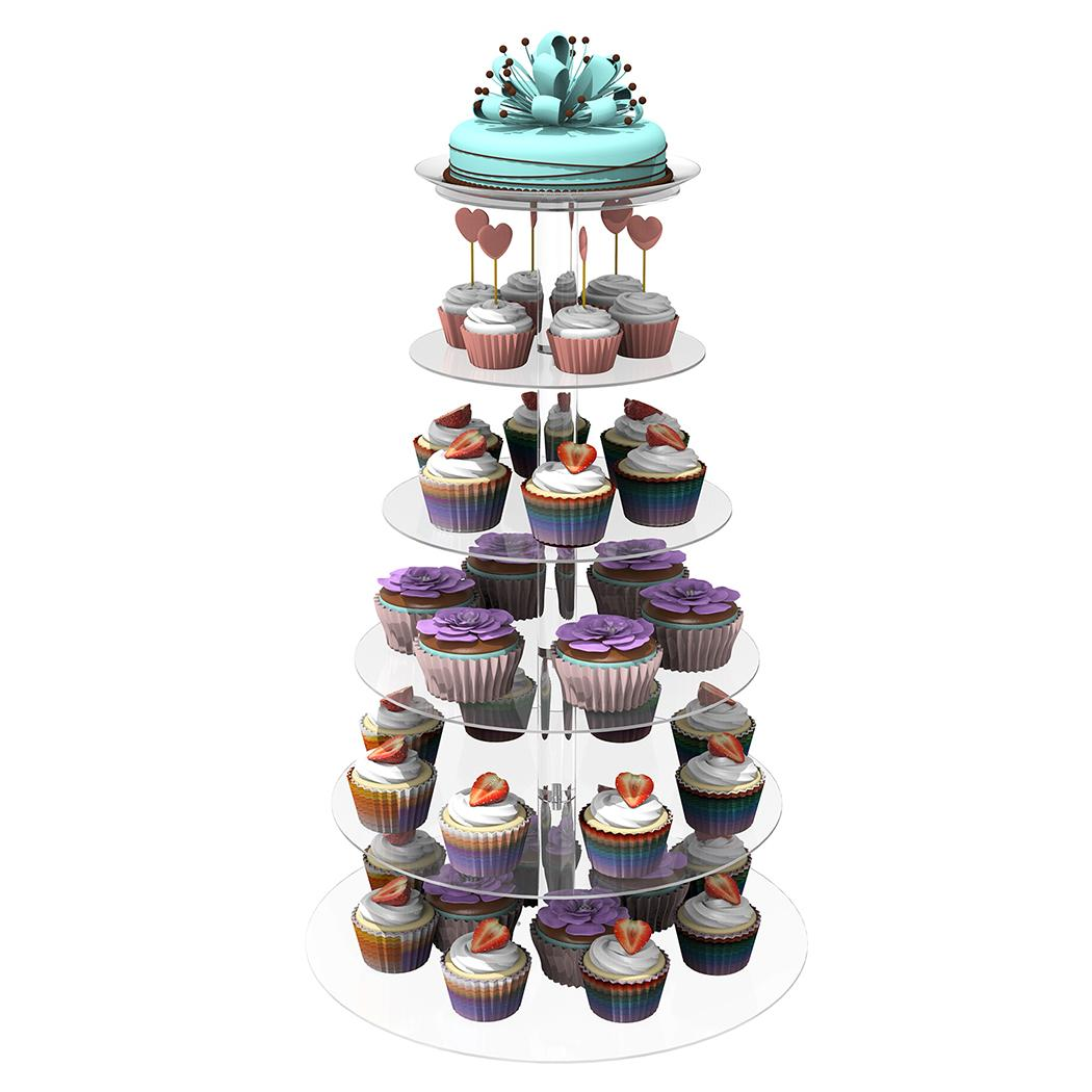 Shopifystore 6 Tier Acrylic Round Transparent Cake Stand ...