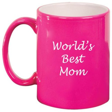 World's Best Mom Ceramic Coffee Tea Mug Cup Hot Pink Gift for