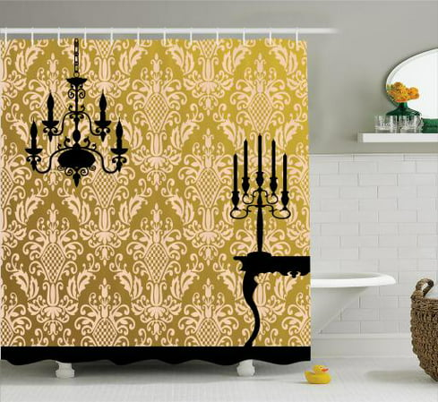 Damask Shower Curtain Set, English Country House Damask Motif on Wall and Chandelier Silhouettes Renaissance Decor, Bathroom Decor,  Golden Black, by Ambesonne