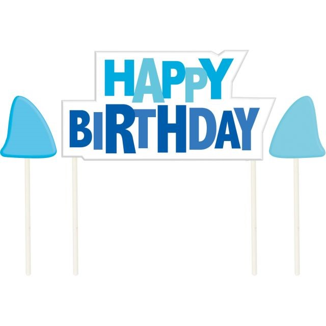 Access Shark Splash Happy Birthday Candles Molded Pick With Icons, 3 Ct