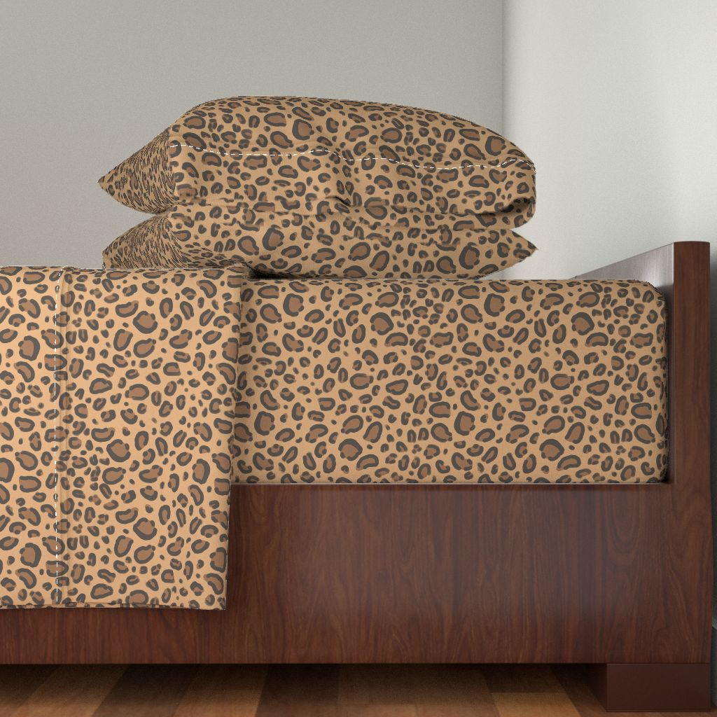 Leopard Spots Leopard Leopard Print 100% Cotton Sateen Sheet Set by Roostery