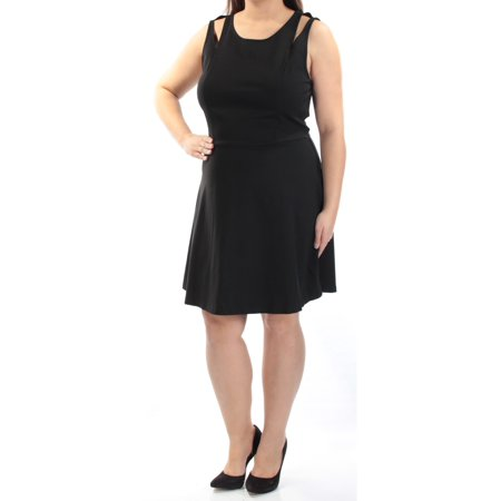 Length Cut Out - BAR III Womens Black Zippered Cut Out Sleeveless Scoop Neck Knee Length Fit + Flare Formal Dress  Size: XL